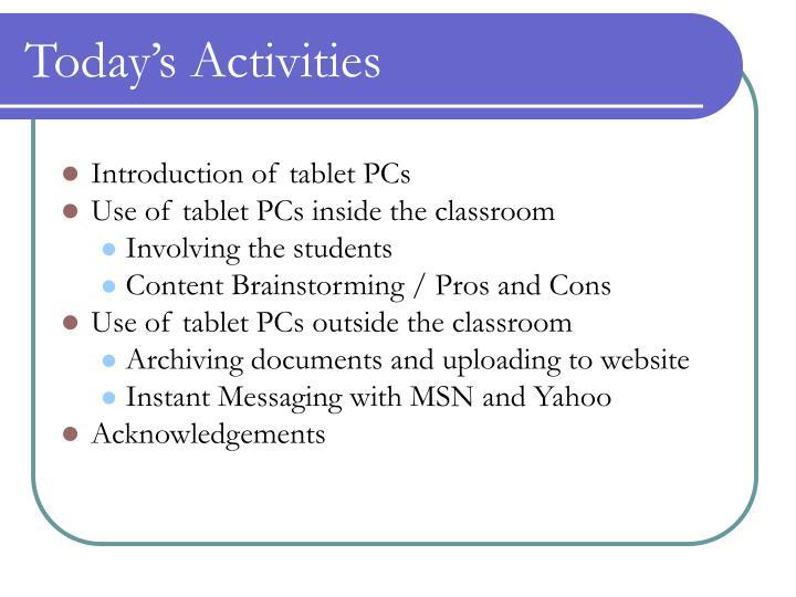 Today s activities