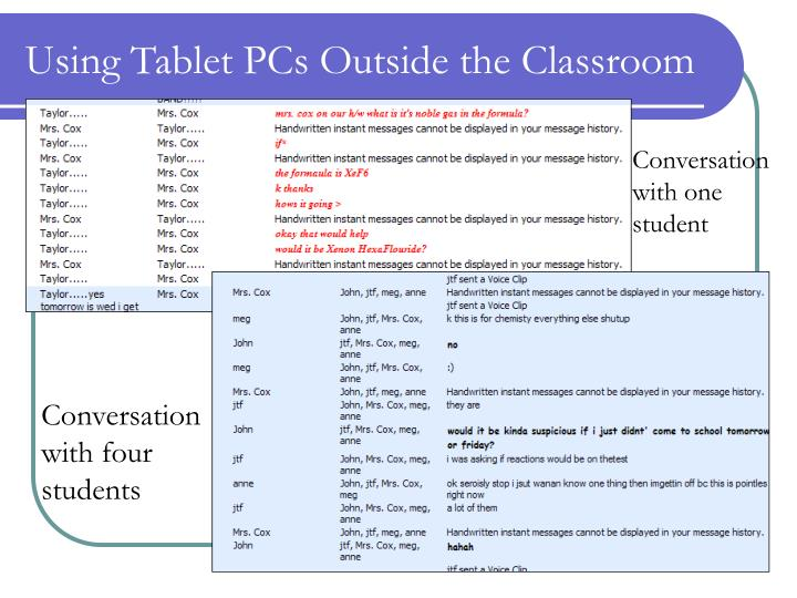Using Tablet PCs Outside the Classroom