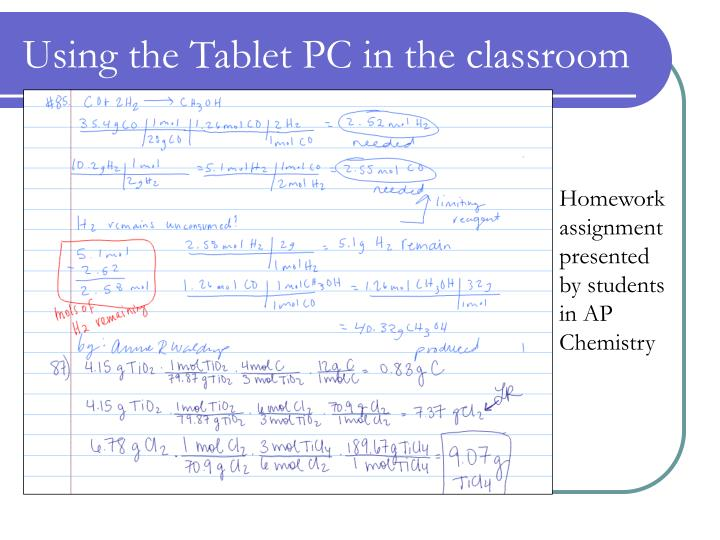 Using the Tablet PC in the classroom