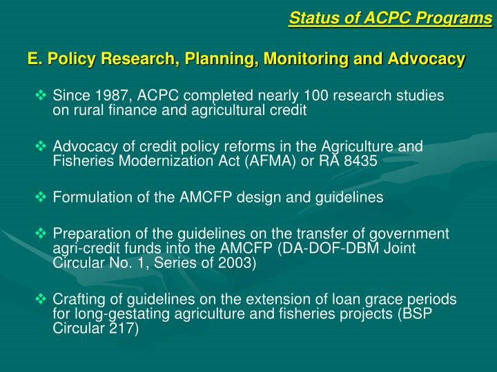 E. Policy Research, Planning, Monitoring and Advocacy