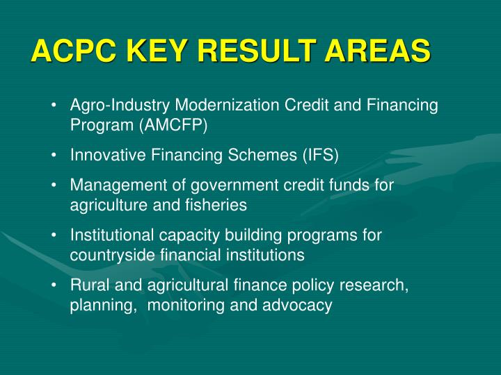 ACPC KEY RESULT AREAS