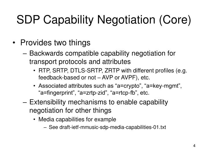 SDP Capability Negotiation (Core)