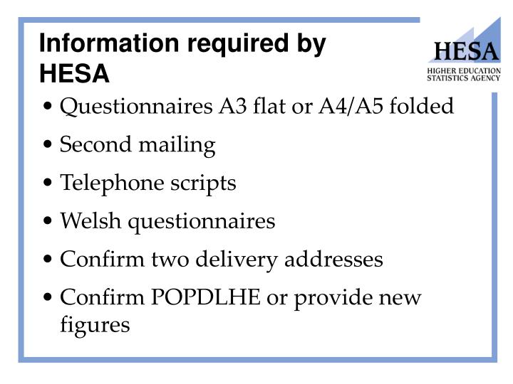 Information required by HESA