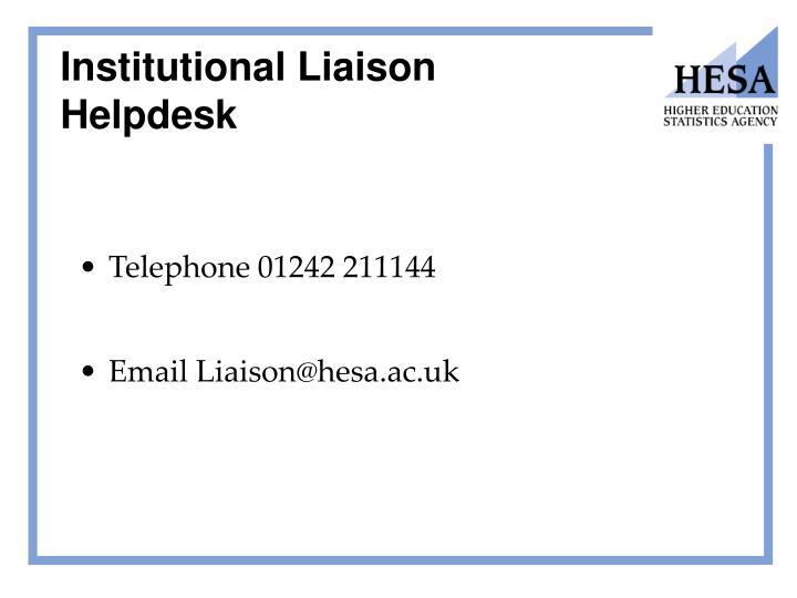 Institutional Liaison Helpdesk
