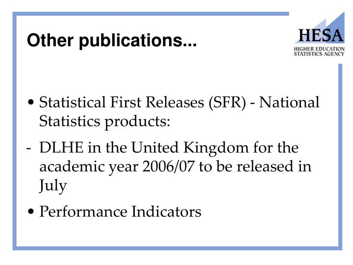 Other publications...