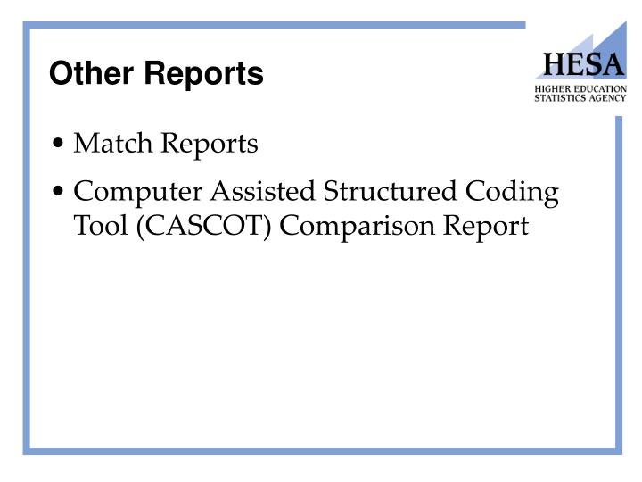 Other Reports