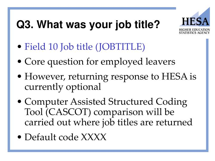 Q3. What was your job title?