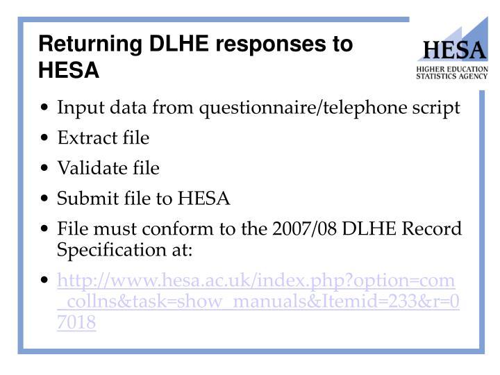 Returning DLHE responses to HESA