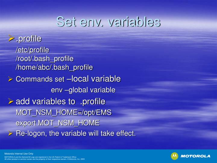 Set env. variables