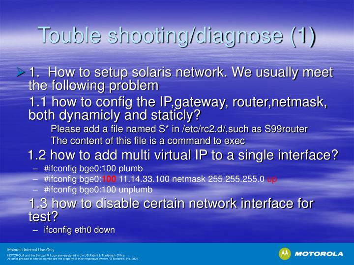 Touble shooting/diagnose (1)