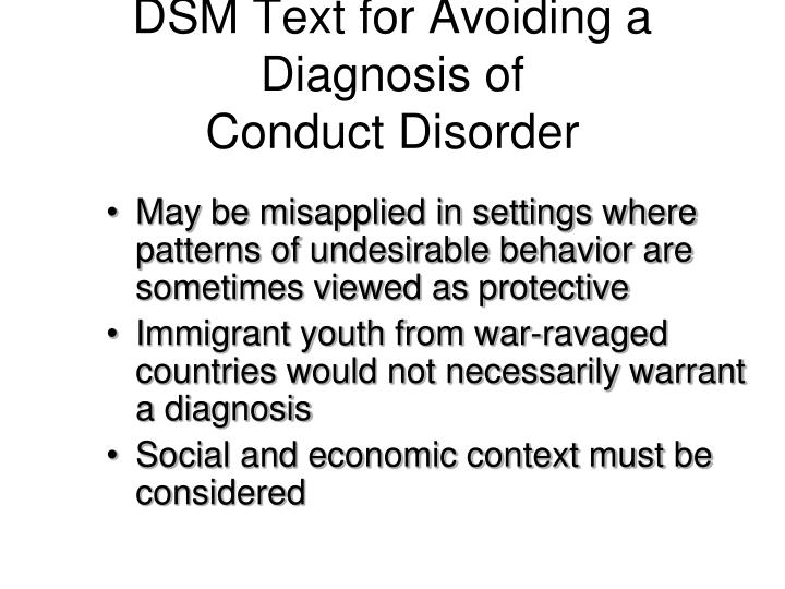 DSM Text for Avoiding a Diagnosis of