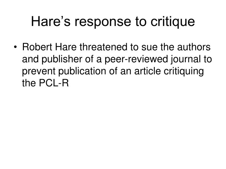 Hare's response to critique