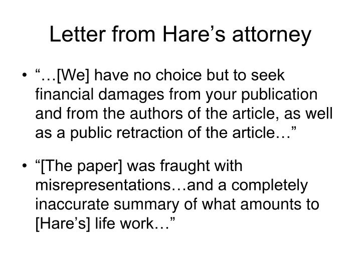 Letter from Hare's attorney