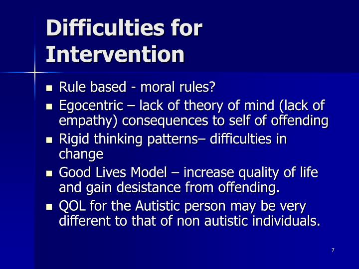 Difficulties for Intervention