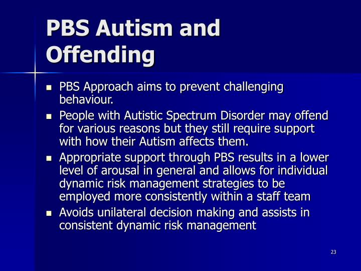 PBS Autism and Offending