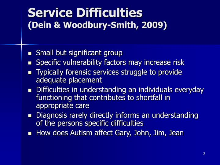 Service difficulties dein woodbury smith 2009