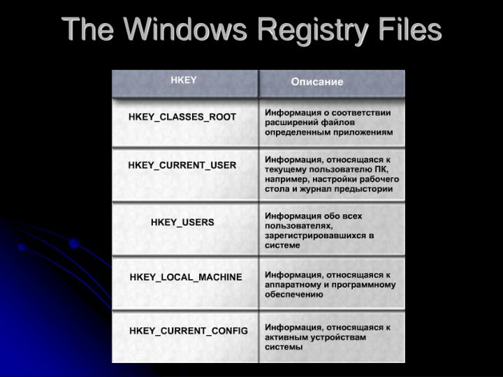 The Windows Registry Files