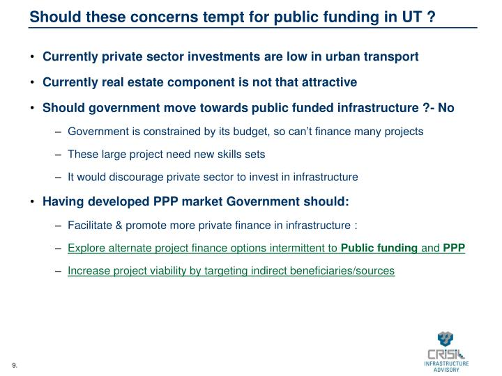 Should these concerns tempt for public funding in UT ?