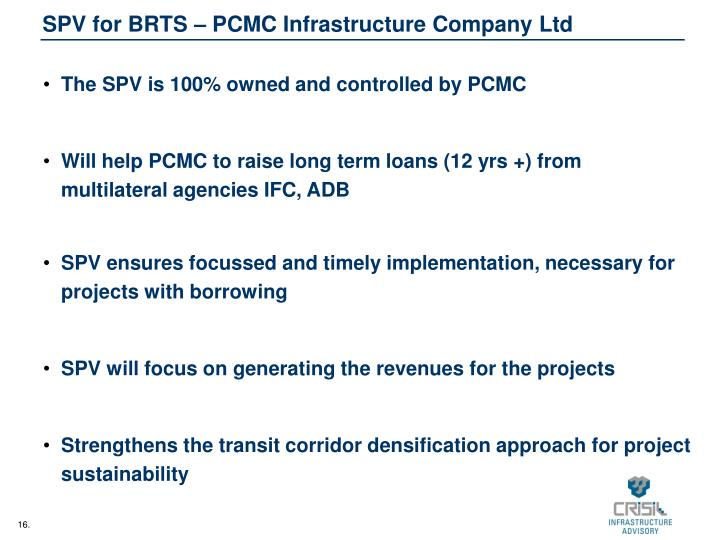 SPV for BRTS – PCMC Infrastructure Company Ltd