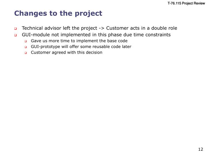 Changes to the project