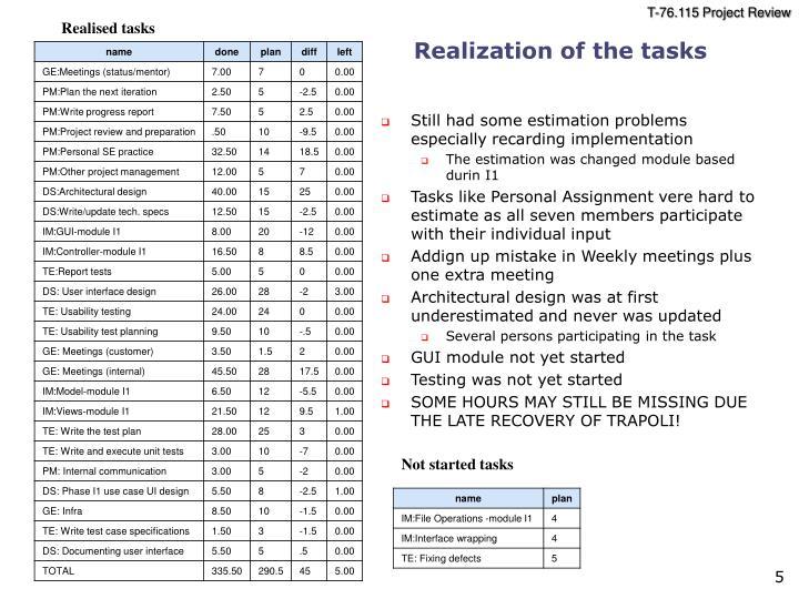 Still had some estimation problems especially recarding implementation
