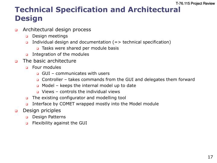 Technical Specification and Architectural Design