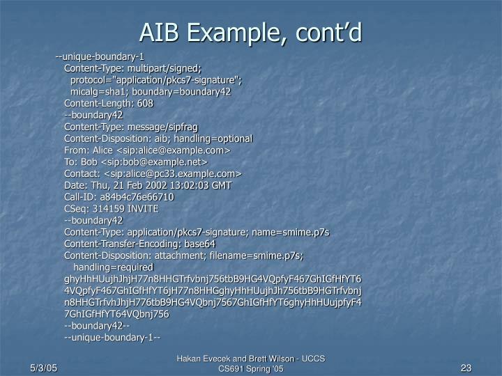 AIB Example, cont'd