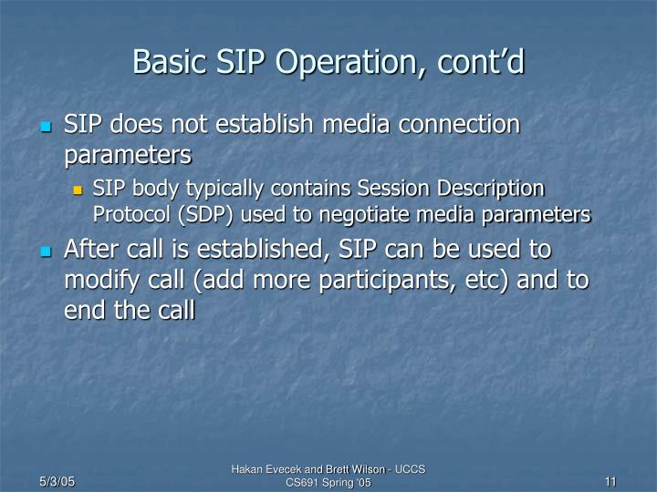 Basic SIP Operation, cont'd