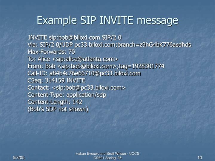 Example SIP INVITE message