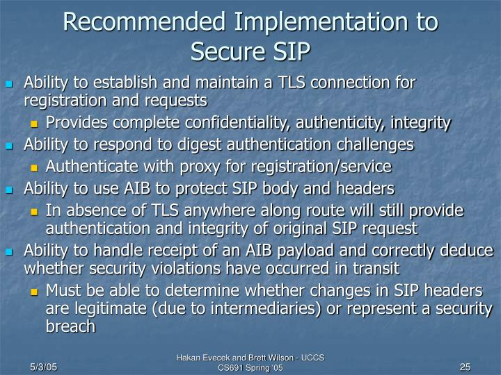 Recommended Implementation to Secure SIP