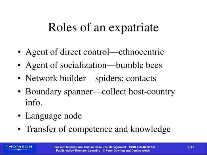 Roles of an expatriate