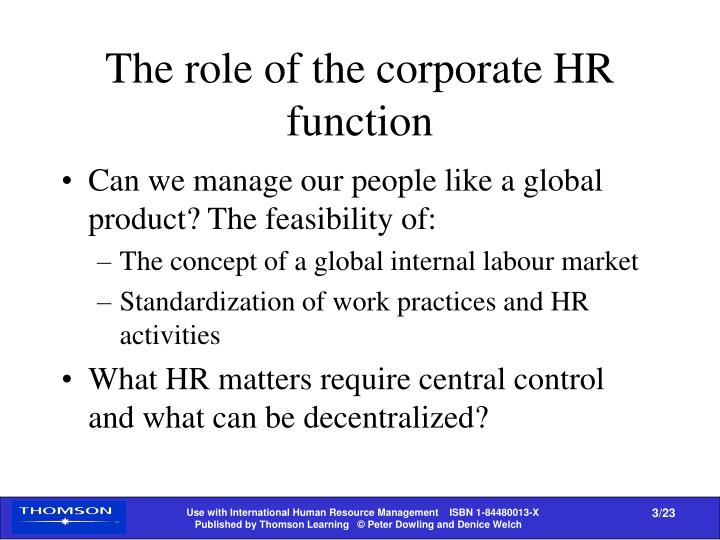 The role of the corporate HR function