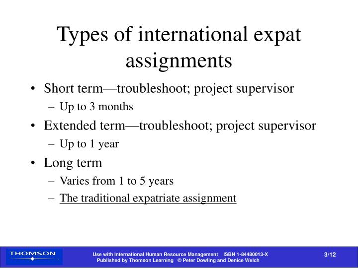 Types of international expat assignments