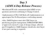 day 3 aims 6 day release process