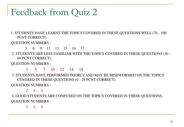 Feedback from Quiz 2