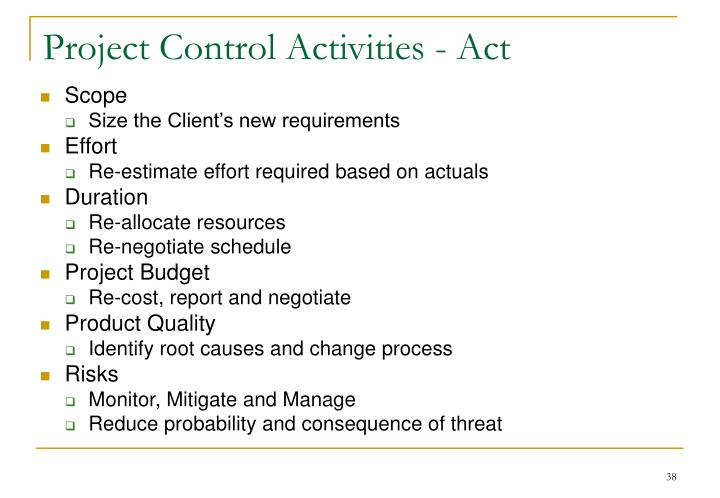 Project Control Activities - Act