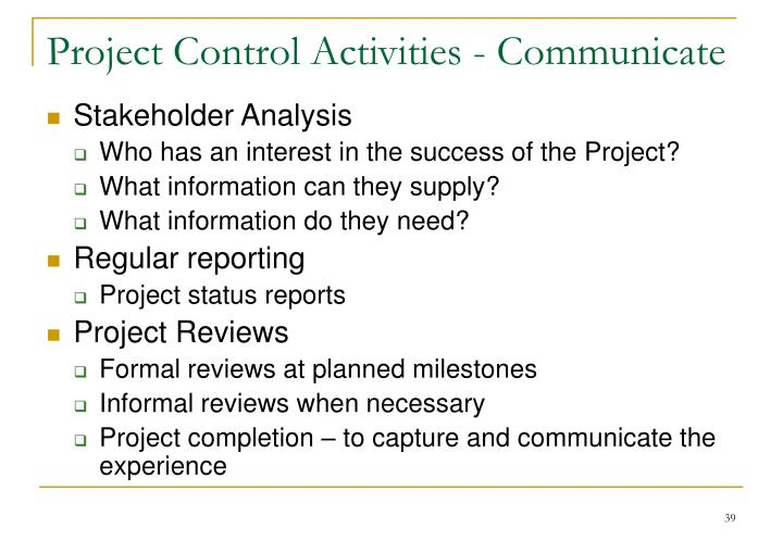 Project Control Activities - Communicate