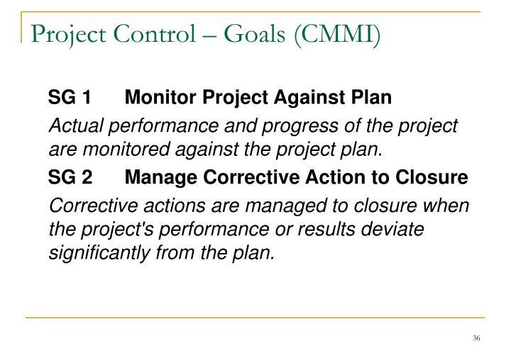 Project Control – Goals (CMMI)