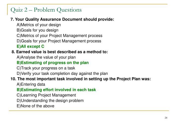 Quiz 2 – Problem Questions