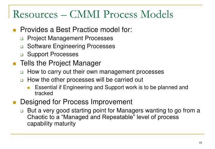 Resources – CMMI Process Models