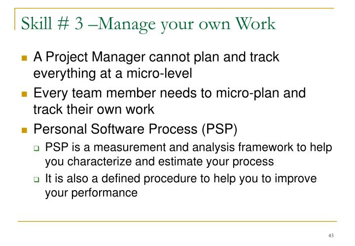 Skill # 3 –Manage your own Work