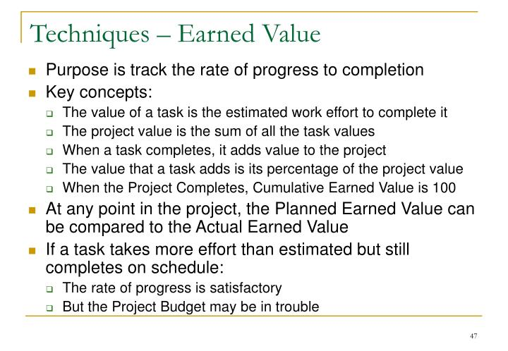 Techniques – Earned Value