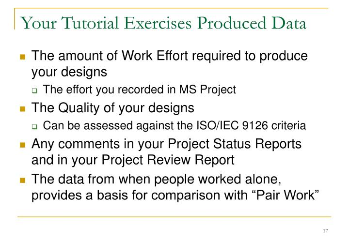 Your Tutorial Exercises Produced Data