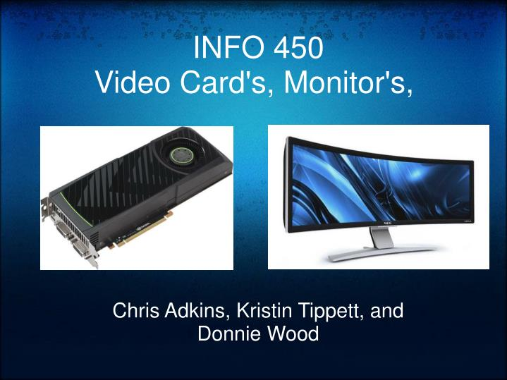 Info 450 video card s monitor s