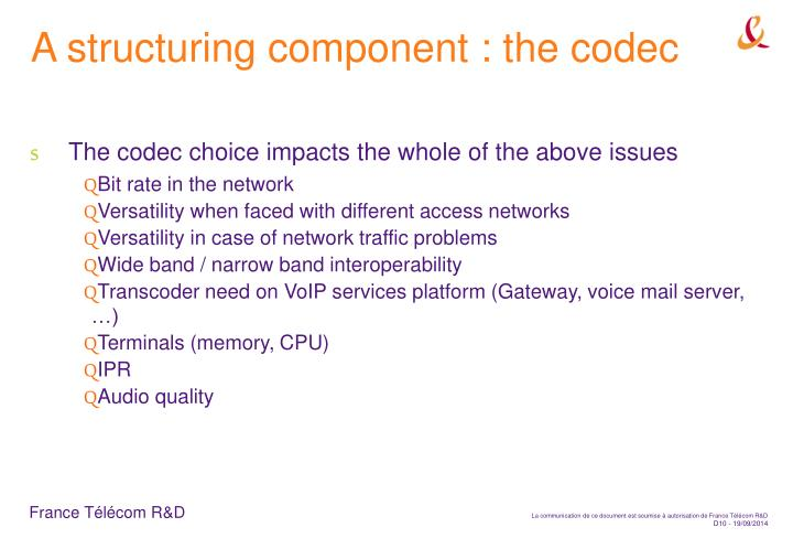 A structuring component : the codec