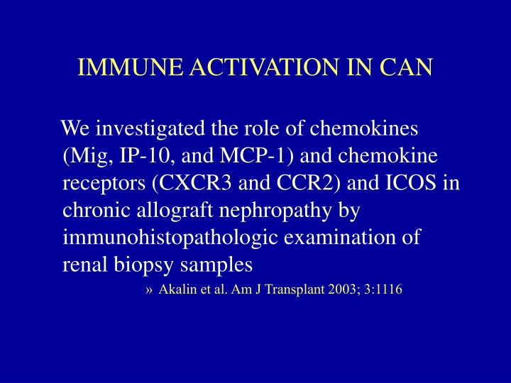 IMMUNE ACTIVATION IN CAN