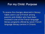 for my child purpose