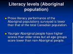 literacy levels aboriginal population