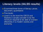 literacy levels ialss results