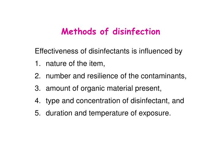Methods of disinfection